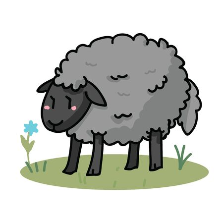 Cute grey sheep in a field cartoon vector illustration motif set. Hand draawn isolated agriculture livestock elements clipart for farming blog, wooly graphic, mutton web buttons.