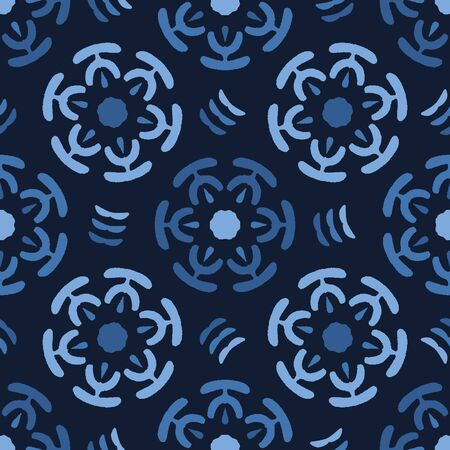 Blue abstract circle flowers. Vector pattern seamless background. Hand drawn geometric style. Ethnic dye gradient illustration. Trendy home decor, men shirting fashion print, navy wallpaper.