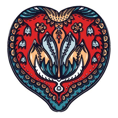Floral leaf paisley eastern european style. Hand drawn lino cut block print. Ornate arabesque flower drop. Slavic foulard folkloric clip art. Bohemian retro folk design element. Medallion heart motif.