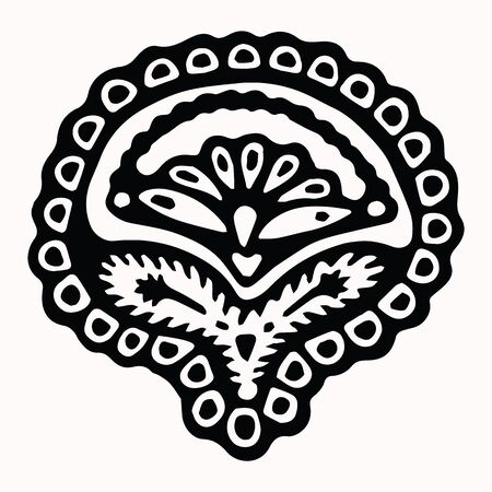 Ornamental folk art graphic design element. Hand drawn linocut block print style. Black folkloric clip art decor icon. Decorative paisley flourish motif. Arabesque tattoo symbol shape. Drawing sketch.  イラスト・ベクター素材