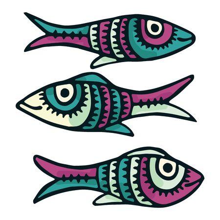 Cute patterned fish vector illustration. Decorative aquatic life clipart.  イラスト・ベクター素材
