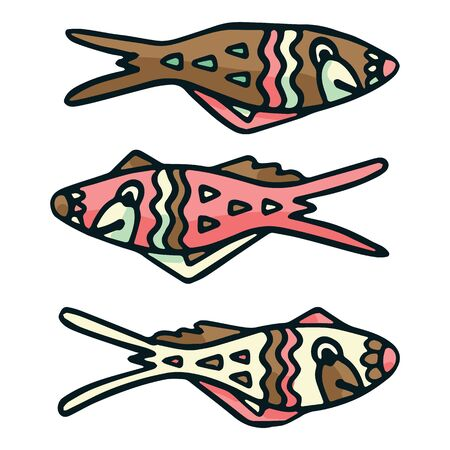 Cute patterned brown fish vector illustration. Decorative nautical life clipart.  イラスト・ベクター素材