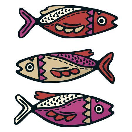 Cute sardine fish vector illustration. Decorative nautical life clipart.  イラスト・ベクター素材
