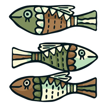 Cute green patterned fish vector illustration. Decorative nautical life clipart.  イラスト・ベクター素材