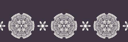 Hand drawn abstract winter snowflakes border pattern. Stylish crystal stars on white background. Elegant simple holiday banner ribbon. Festive gift wrap washi tape yule illustration. Çizim