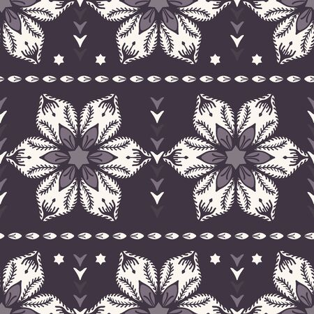 Drawn abstract Christmas flower pattern. Stylized poinsettia floral. Black White background. Winter holiday all over print. Festive gift wrap paper ornament illustration. Seamless vector swatch.