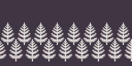 Hand drawn stylized Christmas tree border pattern. Geometric abstract fir forest on ecru white background. Cute winter holiday banner ribbon. Festive yule gift masking washi tape. Vector illustration