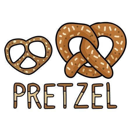 Cute pretzel cartoon vector illustration motif set. Hand drawn isolated fresh baked pastry elements clipart for bakery blog, lettering graphic, food web buttons. Çizim