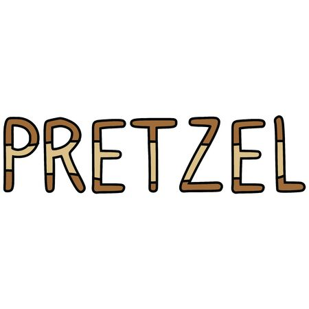 Cute pretzel typography cartoon vector illustration motif set. Hand drawn isolated fresh baked lettering elements clipart for bakery blog, writing graphic, food web buttons.