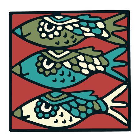 Cute three blue fish tile clipart. Colorful decorative marine life vector illustration