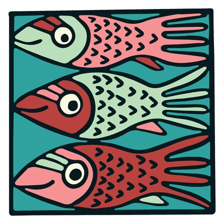 Cute three pink fish tile clipart. Colorful decorative marine life vector illustration