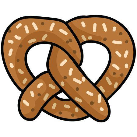 Cute pretzel cartoon vector illustration motif set. Hand drawn isolated fresh baked pastry elements clipart for bakery blog, bavarian bretzel graphic, food web buttons. Çizim