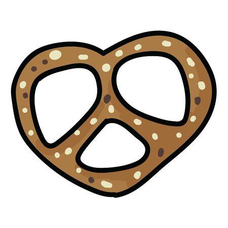 Cute fresh pretzel cartoon vector illustration motif set. Hand drawn isolated fresh baked pastry elements clipart for bakery blog, bavarian bretzel graphic, food web buttons.