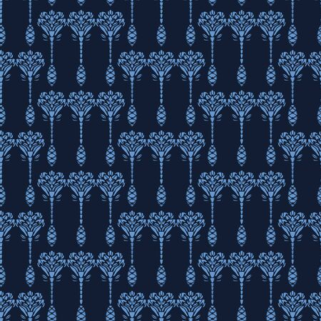 Indigo blue flower motif Japanese style. pattern. Hand drawn dyed floral damask textiles. Decorative art nouveau home decor. Modernist trendy monochrome all over print. Seamless vector swatch. Ilustração