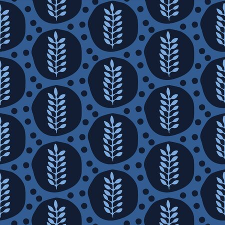 Indigo blue stylized ethnic leaf pattern. Folk art nature carved block textiles background. Japanese dye style monochrome home decor. Trendy plant leaves polka dots all over print. Seamless vector