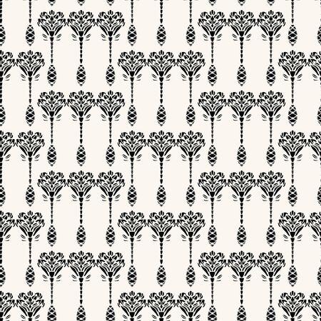 Art Nouveau ornamental motif Jugendstil style. Vector seamless pattern. Retro arabesque damask textiles swatch. Decorative arts crafts folk art home decor. Modernist trendy monochrome all over print.