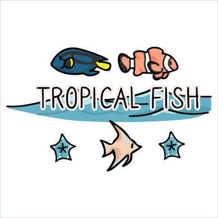 Cute tropical fish banner cartoon vector illustration motif set. Hand drawn isolated surgeon fish, clown fish and angel fish elements clipart for aquatic life blog, ocean graphic, underwater.