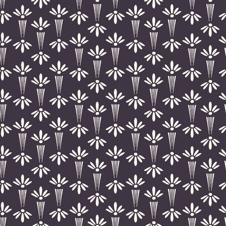Art Nouveau ornamental flower motif Jugenstil style. Vector seamless pattern. Modernist trendy monochrome all over print.