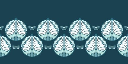 Hand drawn stylized Christmas tree bauble border pattern. Fir ornament on green background. Cute folk art winter holidays ribbon trim. Festive yule gift wrap washi tape illustration. Seamless vector