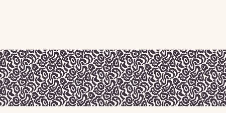 Stylized animal skin border. Repeating texture edging. Monochrome surface design textile trimming. Modern black white banner. Camouflage fashion ribbon tape. Seamless vector background. Illusztráció