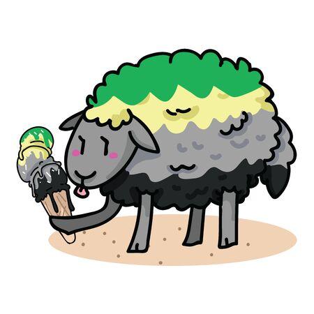 Cute aromantic sheep with tasty ice cream cartoon vector illustration motif set. Hand drawn isolated summer treat elements clipart