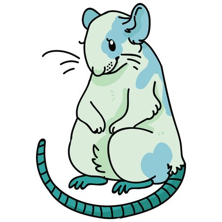 Cute neo mint green rat illustration. Forest rodent clipart.