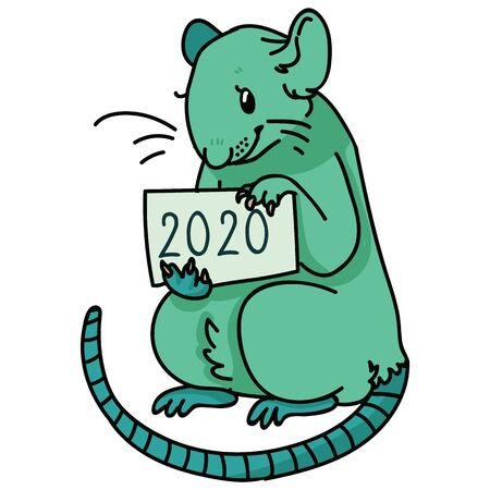 Neo mint green 2020 rat vector illustration. Chinese happy new year clipart.
