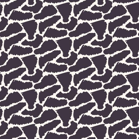 Seamless vector pattern. Abstract sylized animal skin. Repeating texture background. Monochrome surface design textile swatch, modern black white wallpaper, camouflage fashion fabric. All over print.  イラスト・ベクター素材
