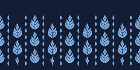 Indigo blue stylized ethnic leaf border pattern. Folk art nature carved block textiles background. Japanese dye style monochrome home decor. Trendy plant leaves foliage banner ribbon. Seamless vector
