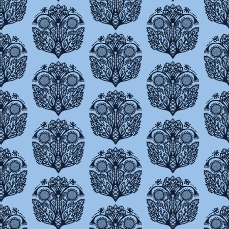 Indigo blue flower motif Japanese style. pattern. Hand drawn paisely drop dyed damask textiles. Decorative art nouveau home decor. Modernist trendy monochrome all over print. Seamless vector swatch.