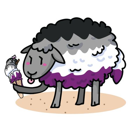 Cute asexual sheep with tasty ice cream cartoon vector illustration motif set. Hand drawn isolated summer treat elements clipart