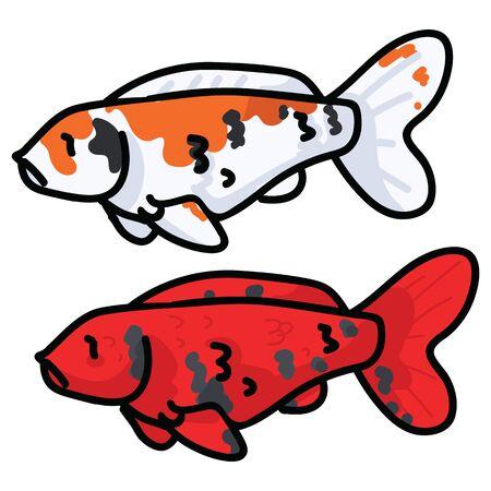Cute decorative koi fish vector illustration. Orange spotted pond life clip art.