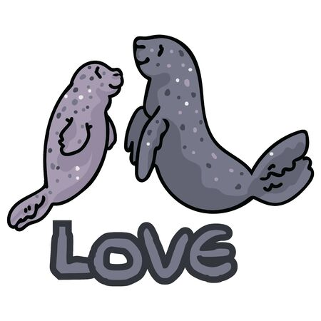 Cute mother and child seal clipart. Hand drawn parental sea mammal.