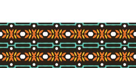 Autumn leaves stripes seamless border pattern. Stylized retro floral stems ribbon trim. 1960s fall autumn fashion edging. Trendy scrapbook banner, nature washi masking tape, vintage garden stationery. Çizim