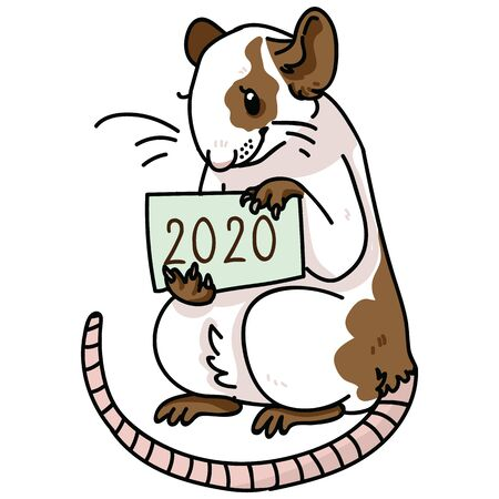 Cute chinese new year 2020 rat vector illustration. Pet rodent clipart. Çizim