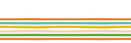 Colorful hand drawn horizontal stripes border pattern. Seamless vector background. Uneven wonky textured lines. Classic abstract brush stroke geo. Autumn season fall colors. Ribbon trim washi tape.
