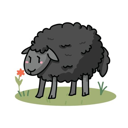 Cute black sheep in a field cartoon vector illustration motif set. Hand draawn isolated agriculture livestock elements clipart for farming blog, wooly graphic, mutton web buttons. Stok Fotoğraf - 129398894