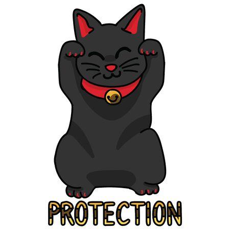 Cute black lucky cat vector. Hand drawn maneki neko Asian cultural clipart. Çizim