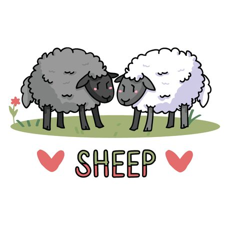 Cute standing sheep in a field cartoon vector illustration motif set. Hand drawn isolated agriculture livestock elements clipart for farming blog, wooly graphic, mutton web buttons. Çizim