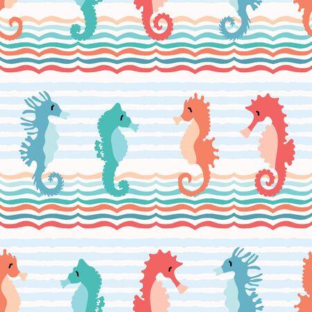 Cute seahorses cartoon illustration pattern. Hand drawn ocean animals seamless vector background. Nautical beach wear, under the sea kids fashion prints. Sealife fun underwater aquarium allover print. Çizim