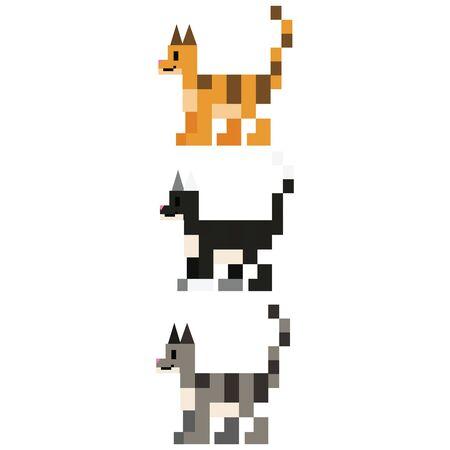 Cute 8 bit cat breed vector illustration. Feline pet pixel clipart. Çizim