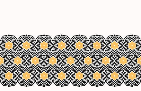 Bold hand drawn star circles quilt. Vector pattern seamless background. Symmetry geometric celtic knot illustration. Trendy retro 1960s style home decor, arabic fashion print, black yellow wallpaper Çizim