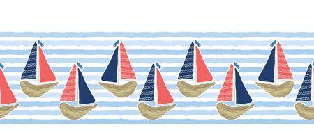 Cute driftwood sailboat on the blue ocean sea border pattern. Marine water stripes seamless vector background. Nautical sailing vessel fun, cruise fashion textile trim, beach vacation travel banner. Çizim