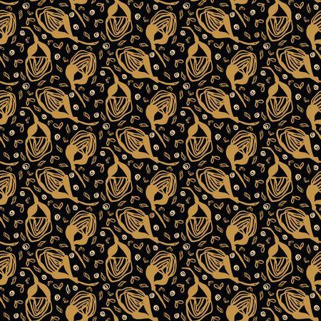 Hand drawn floral tossed pattern. Vector seamless background. Stylized ink flower stem illustration. Trendy retro gold style home decor, elegant nature fashion print. Black yellow stylish polka dots. Çizim