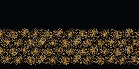 Hand drawn floral tossed border pattern. Vector seamless background. Stylized ink flower stem illustration. Trendy retro old gold style home decor trimming, elegant nature banner, stylish polka dots.