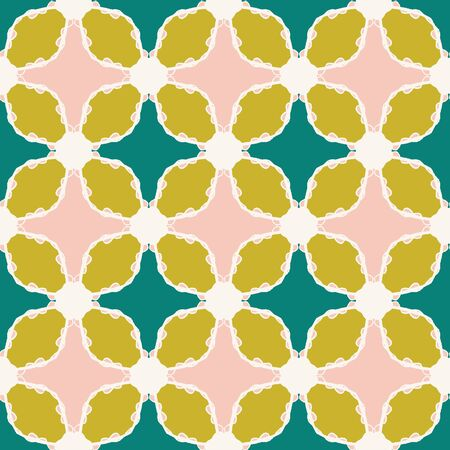 Hand drawn damask floral pattern. Summer vector seamless background. Trendy tropical leaf green block illustration. Modern foliage home decor, decorative nature fashion all over print. Teal textile