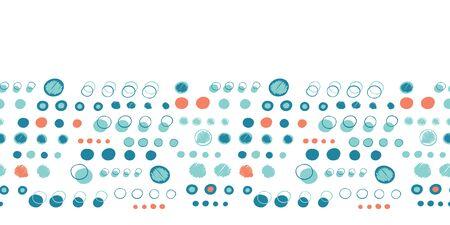 Turquoise blue polka dot circles. Vector pattern seamless border background. Hand drawn texture style. Tiny small dotty edging illustration. Trendy nautical home decor, maritime fashion ribbon trim.