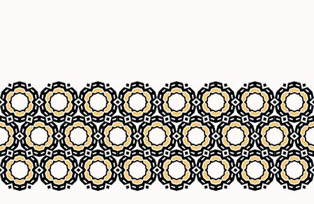 Bold hand drawn daisy flower quilt geo. Vector border pattern seamless background. Symmetry geometric abstract illustration. Trendy retro 1960s style home decor banner, decorative floral fashion trim