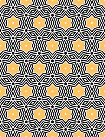 Bold hand drawn star flower quilt. Vector pattern seamless background. Symmetry geometric celtic knot illustration. Trendy retro 1960s style home decor, decorative fashion print, black yellow paper