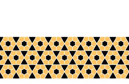 Bold hand drawn hexagon quilt geo. Vector border pattern seamless background. Symmetry geometric abstract illustration. Trendy retro 1960s style home decor banner, decorative triangular fashion trim